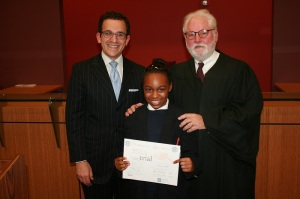 Ford PAL youngster Laniyah with Eric Meyer and Judge Lynn