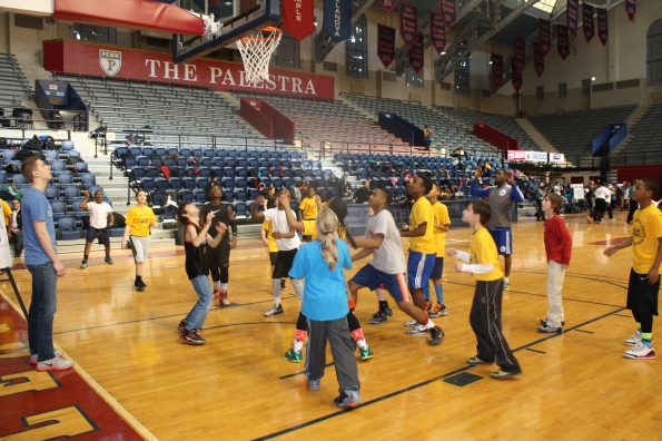 PAL members participating in basketball drills with the Philadelphia 76ers