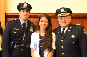 Tacony PAL representative Lorraine with Center Director P/O Bill Schneider and Commissioner Ramsey