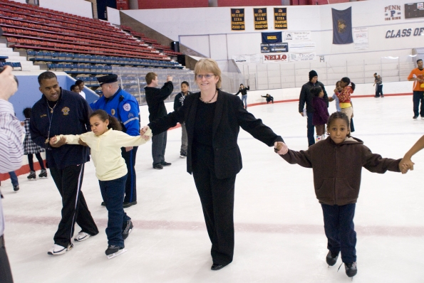 PAL Board member Maureen Rush helped Southwest PAL kids ice skate