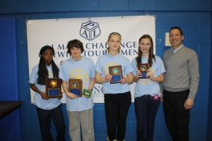 PAL Board member Mark Dorval with 8th grade winners from the North Region