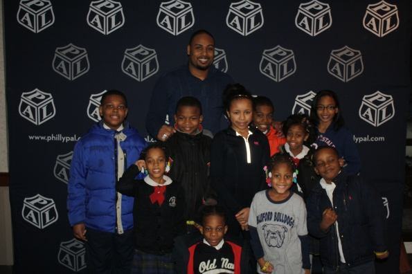 Bluford PAL youngsters with Raheem Brock