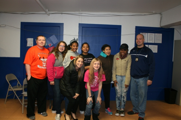 Wissinoming PAL Positive Images participants with instructor Nicole, volunteer Joe and Center Director P/O Panerello