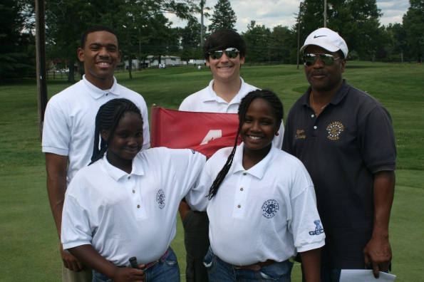Junior Golf Camp participants with PAL Center Director P/O Crawley