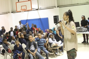 BriaMarie performing for a crowd of excited Southwest PAL youngsters