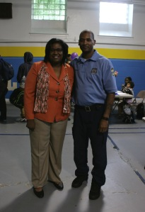 Wissinoming PAL Center Director P/O Brian Younger with Tanya Morris from Turning Points for Children