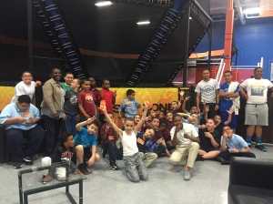 Harrowgate PAL Boys to Men participants at Sky Zone with Center Director P/O Sharon Wells