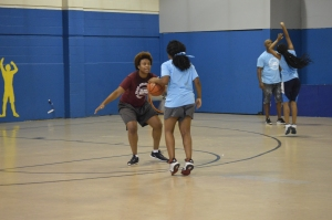 Players practiced shooting drills at Girls Basketball Camp