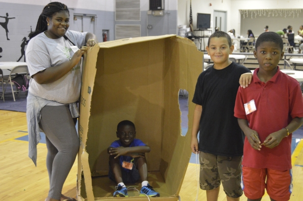 Campers built karts from recycled boxes